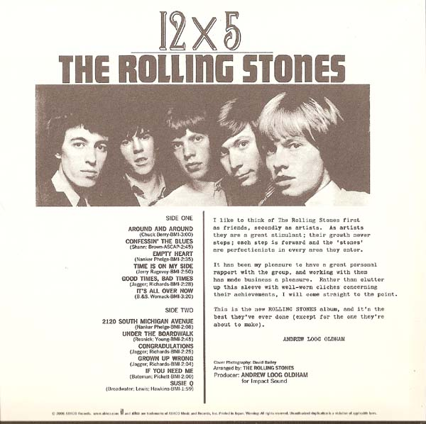 Back Cover, Rolling Stones (The) - 12 X 5