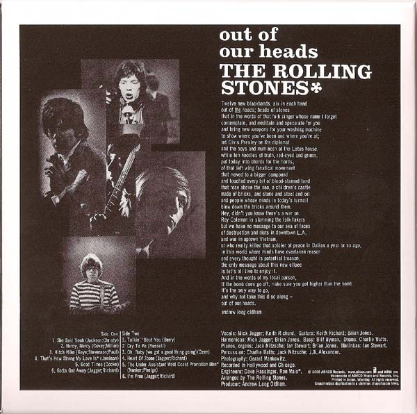 Back Cover, Rolling Stones (The) - Out Of Our Heads (UK)