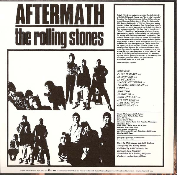 Back Cover, Rolling Stones (The) - Aftermath (US)