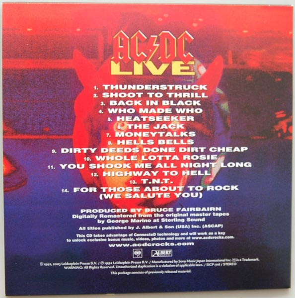 Back cover, AC/DC - Live