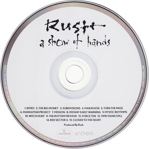A Show Of Hands CD, Rush - Sector 3