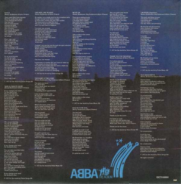 inner sleeve back, Abba - The Album +1