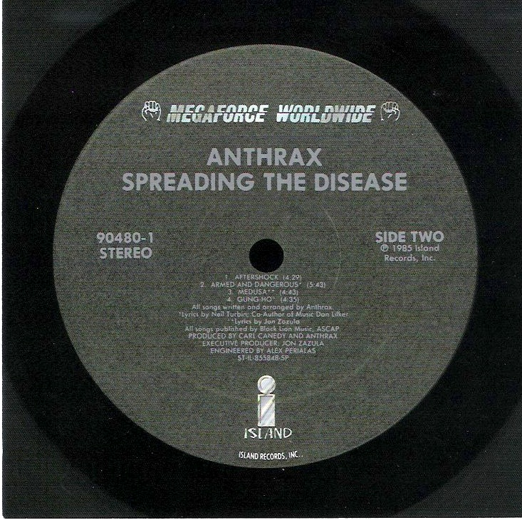 Side Two Vinyl Sticker, Anthrax - Spreading The Disease