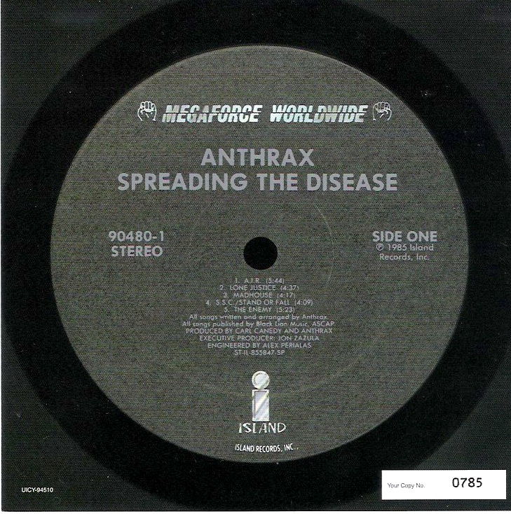 Side One Vinyl Sticker, Anthrax - Spreading The Disease