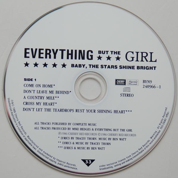 CD, Everything But The Girl - Baby The Stars Shine Bright