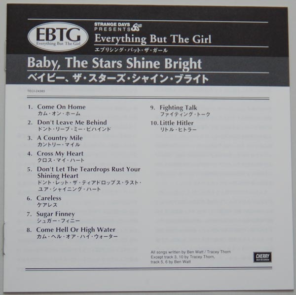 Lyric book, Everything But The Girl - Baby The Stars Shine Bright
