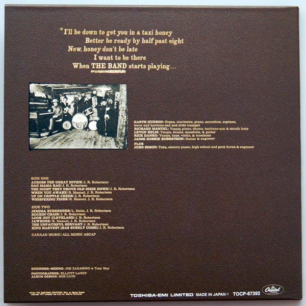 Back cover, Band (The) - The Band +7