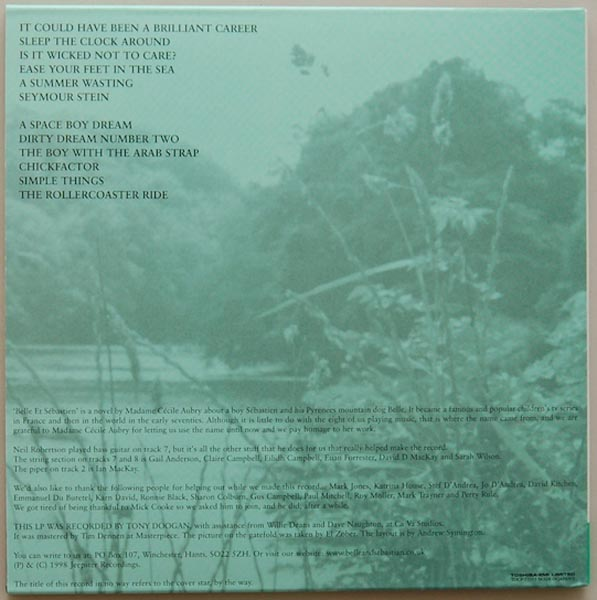Back cover, Belle + Sebastian - The Boy With The Arab Strap