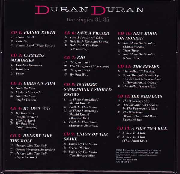 Box [Back], Duran Duran - The Singles 81-85 Boxset