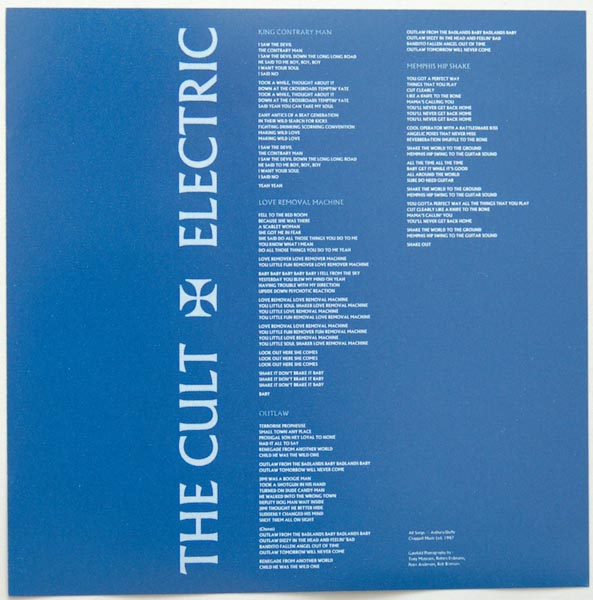Insert back side, Cult (The) - Electric