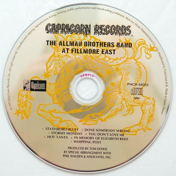 CD, Allman Brothers Band (The) - At Fillmore East
