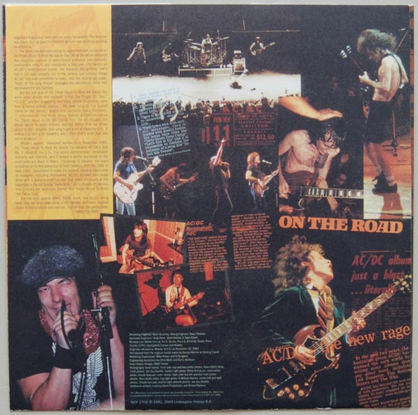 Inner sleeve side B, AC/DC - For Those About To Rock We Salute You