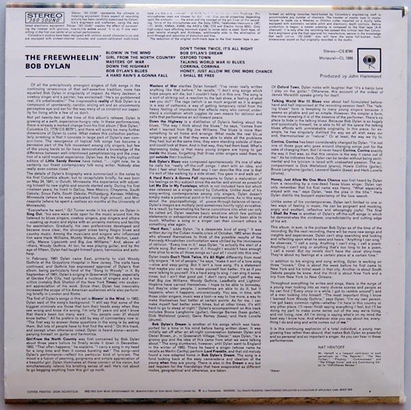 Back cover, Dylan, Bob - The Freewheelin' Bob Dylan