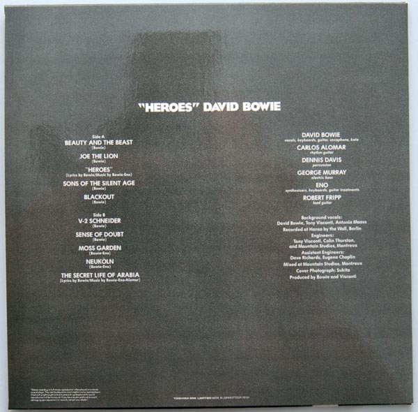 """Back cover, Bowie, David - """"Heroes"""""""