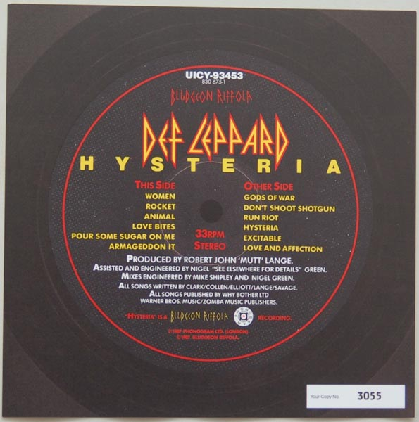 Front Label (numbered), Def Leppard - Hysteria