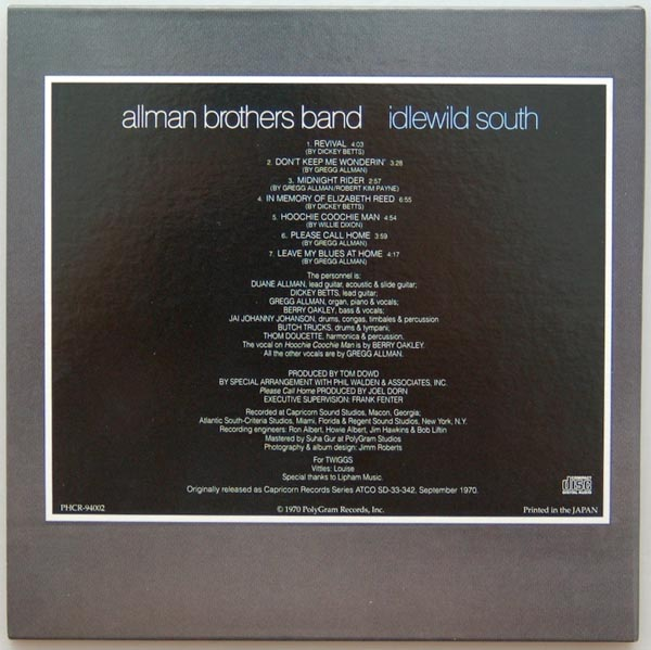 Back cover, Allman Brothers Band (The) - Idlewild South
