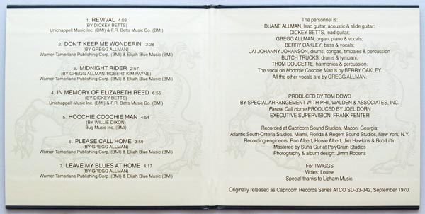 Gatefold open, Allman Brothers Band (The) - Idlewild South