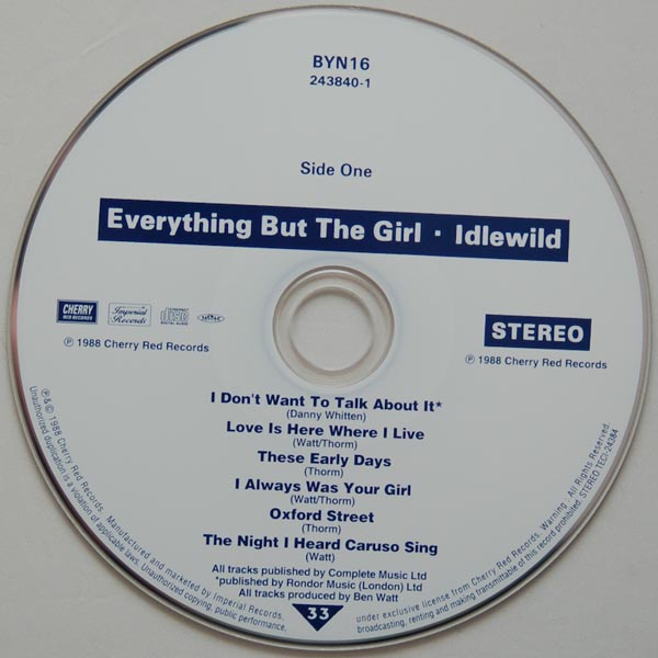 CD, Everything But The Girl - Idlewild