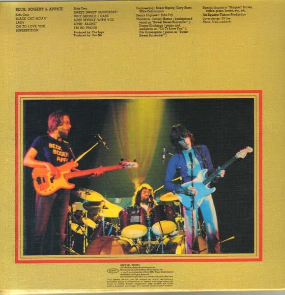 Back cover, Beck, Bogert & Appice - Jeff Beck / Tim Bogert / Carmine Appice