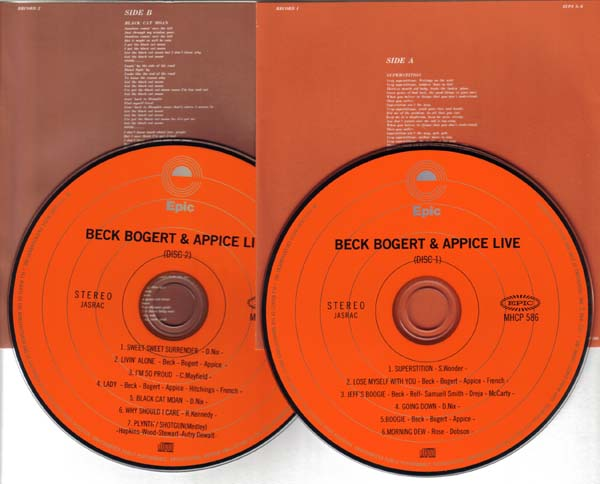 cds and inner sleeves, Beck, Bogert & Appice - Live