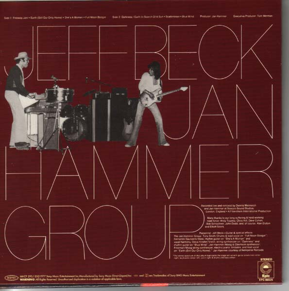 Back cover, Beck, Jeff - With The Jan Hammer Group Live (aka Live Wire)