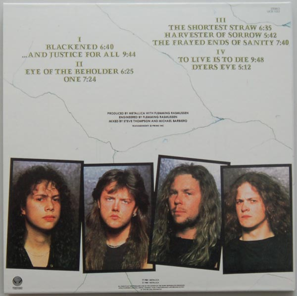 Back cover, Metallica - ...And Justice for All