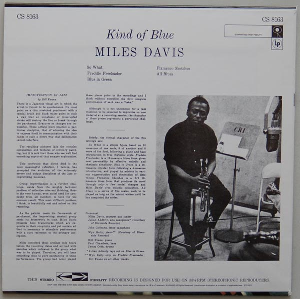 Back cover, Davis, Miles - Kind Of Blue