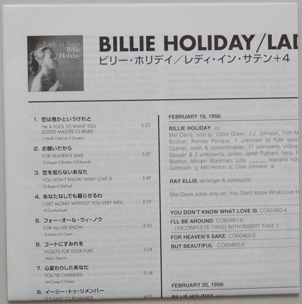 Lyric book, Holiday, Billie - Lady In Satin
