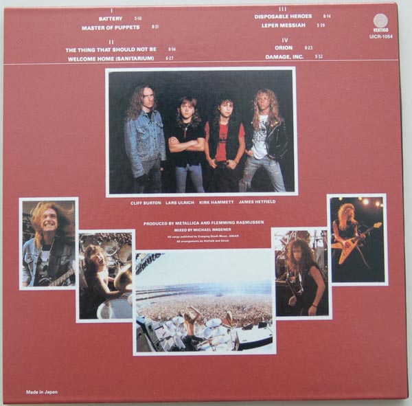 Back cover, Metallica - Master of Puppets