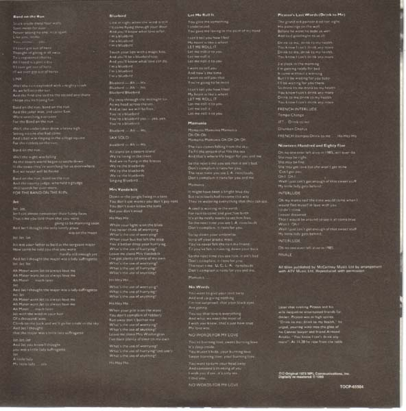 Inner Sleeve (other side), McCartney, Paul - Band On The Run