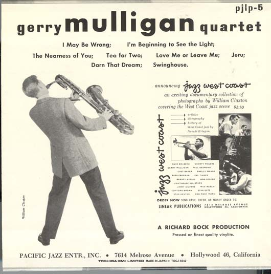 , Mulligan, Gerry - Gerry Mulligan Quartet, Vol 2