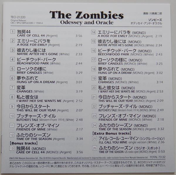 Lyric book, Zombies (The) - Odessey and Oracle +3
