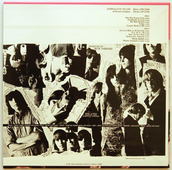 Back cover, Jefferson Airplane - Surrealistic Pillow +6