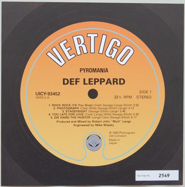 Front Label (numbered), Def Leppard - Pyromania