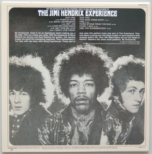 Back cover, Hendrix, Jimi - Are You Experienced