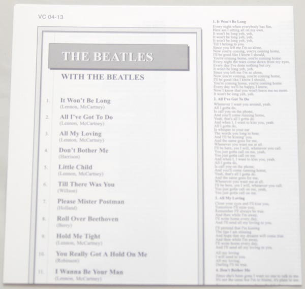 Lyric book, Beatles (The) - With The Beatles