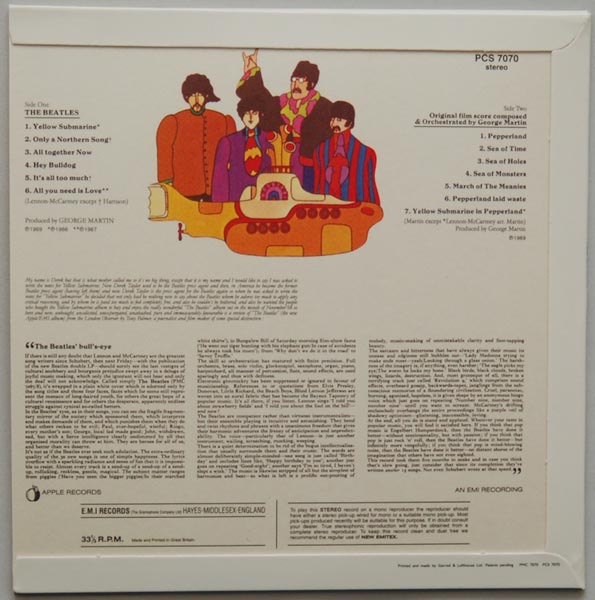 Back cover, Beatles (The) - Yellow Submarine