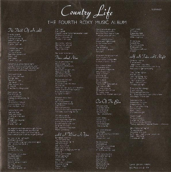 LP Inner Sleeve, Roxy Music - Country Life