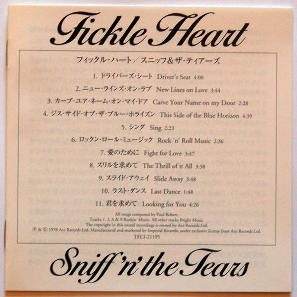 Lyric sheet, Sniff?n?Tears - Tickle Heart