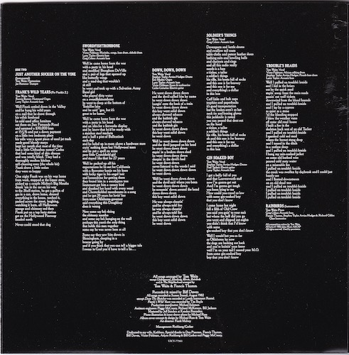 Inner sleeve back, Waits, Tom - Swordfishtrombones
