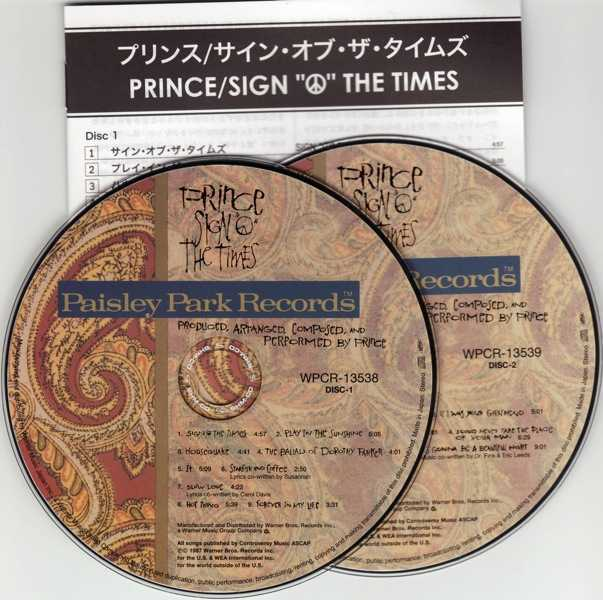 cd & lyric booklet, Prince - Sign O' The Times