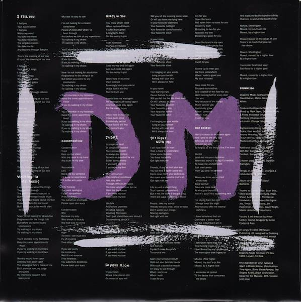Inner sleeve back, Depeche Mode - Songs of Faith and Devotion