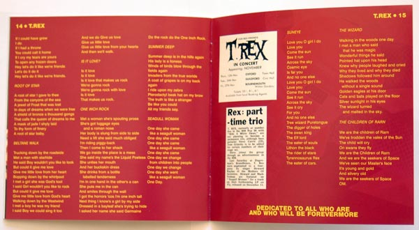 Booklet pages 14 & 15, T Rex (Tyrannosaurus Rex) - T Rex +9