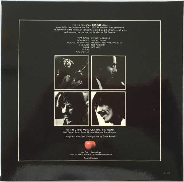 Back Cover, Beatles (The) - Let It Be [Encore Pressing]