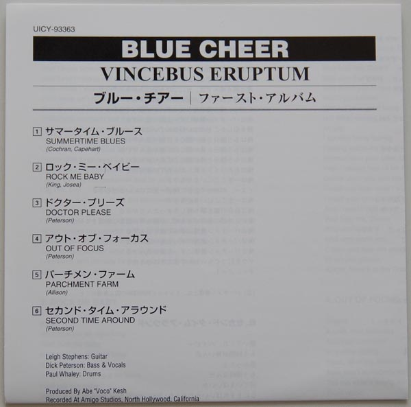 Lyric book, Blue Cheer - Vincebus Eruptum