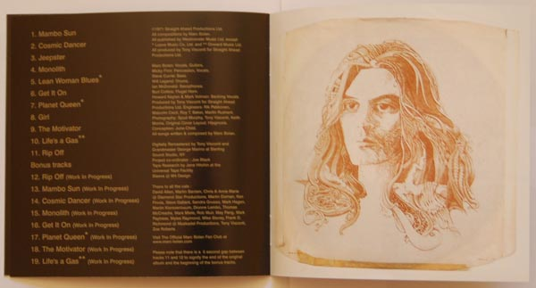 Booklet pages 10 & 11, T Rex (Tyrannosaurus Rex) - Electric Warrior +8