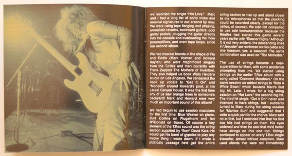 Booklet pages 4 & 5, T Rex (Tyrannosaurus Rex) - Electric Warrior +8