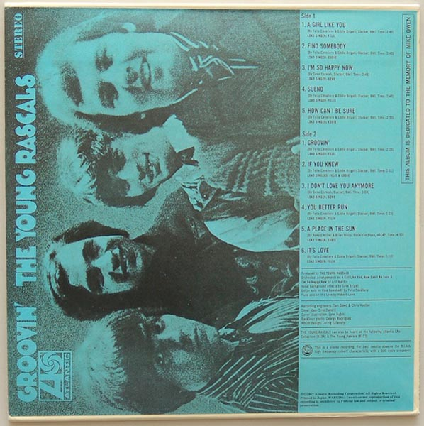 Back cover, Young Rascals - Groovin'