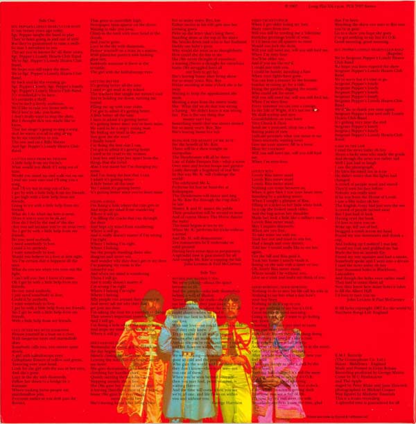 Back cover, Beatles (The) - Sgt. Pepper's Lonely Hearts Club Band