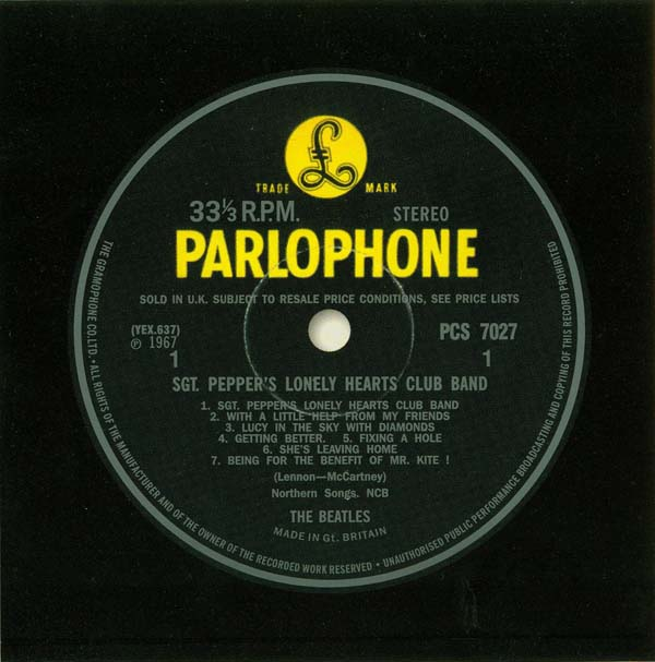 Parlophone Label - Side One, Beatles (The) - Sgt. Pepper's Lonely Hearts Club Band
